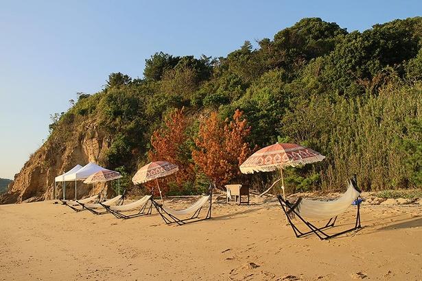 浜辺に並ぶパラソルとハンモック