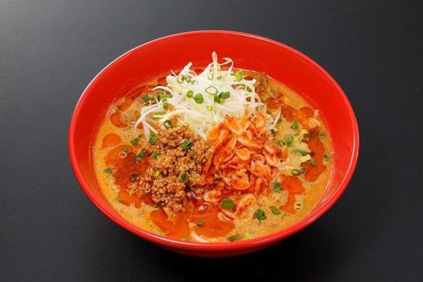 「函館らーめん 醐りょう」の「海老香る 担々麺」(税込880円)。スープにエビの風味が凝縮されている