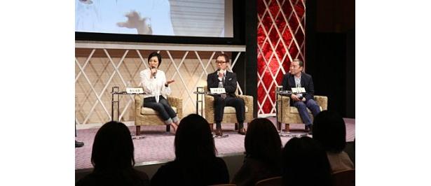 ドラマ「アイシテル〜海容〜」からは板谷由夏、佐野史郎、次屋尚プロデューサーが出席(写真左から)