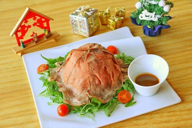 「潮騒料理 哉介」で味わえるクリスマスメニューの「ローストビーフライスボールプレート」