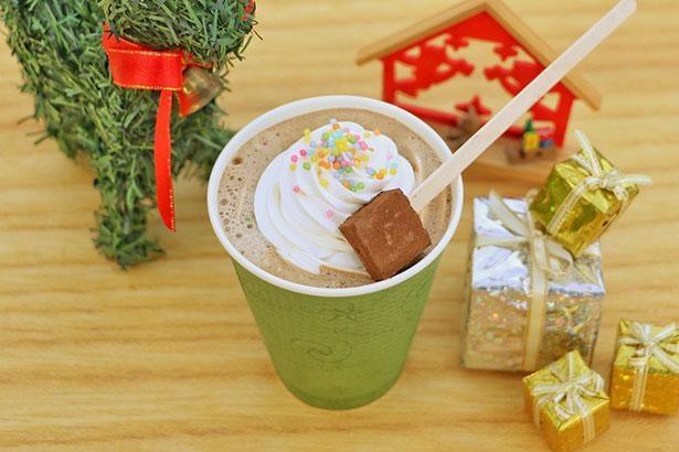 かわいいデコレーションの「クリスマスモカスペシャル」は「ケーブルカーコーヒー」で販売