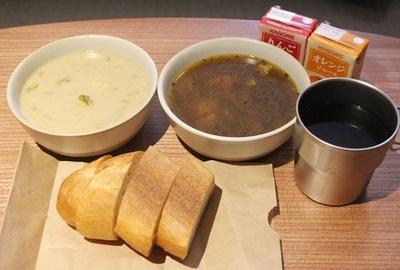 この日のスープは、酒麹を使った和風のシチューと、朝に嬉しいあっさりとしたカレースープ