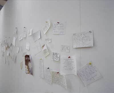 """My Mommy Is Beautiful"" (Memory Wall), Liverpool Biennial at Tate Liverpool,   2004, photographs byDavid Lambert and Rod Tidnam."
