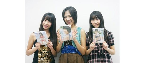 1stソロDVDを発売したAKB48の藤江れいな、宮澤佐江、近野莉菜(写真左から)