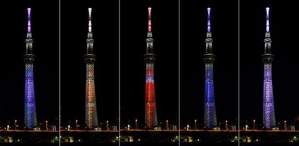 東京スカイツリー(R)が「エヴァンゲリオン」をイメージした全5種類のカラーで点灯 ※画像はイメージ