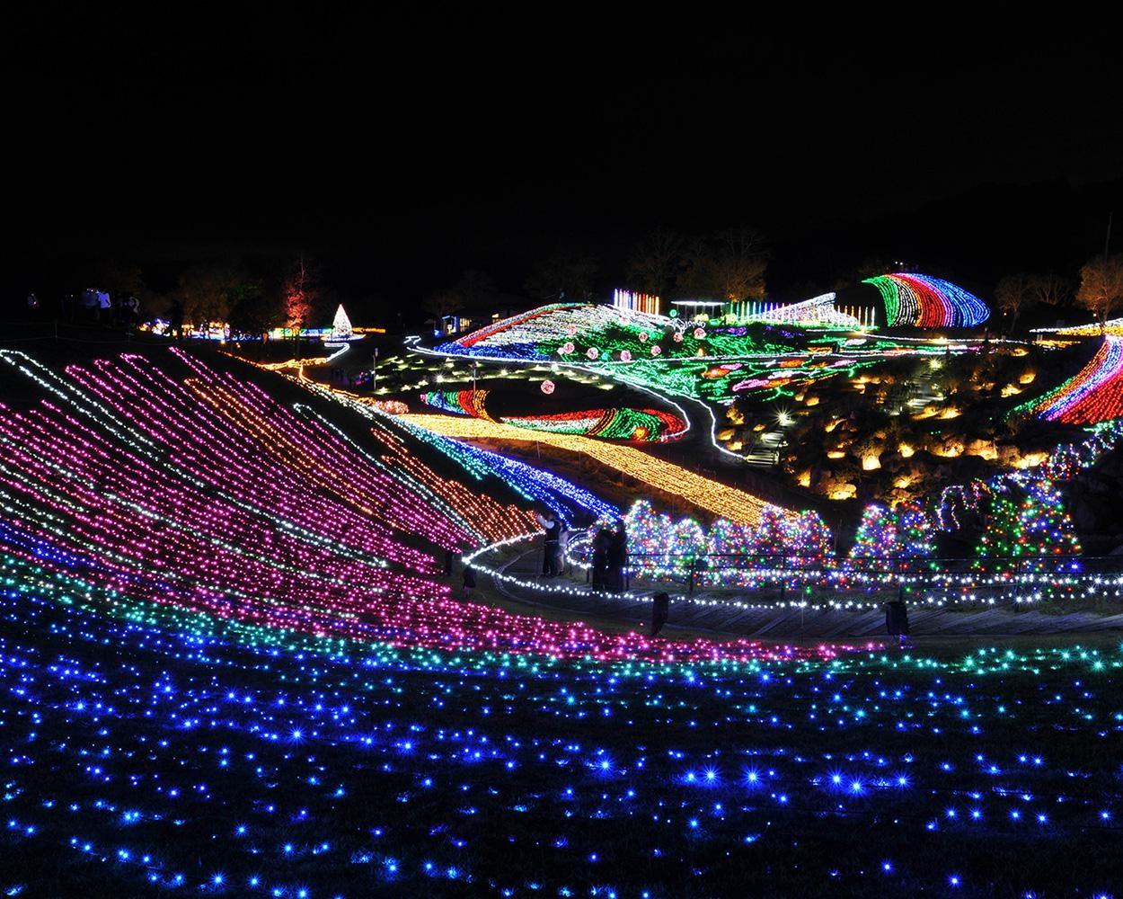香川県の国営讃岐まんのう公園を彩るパノラマ・イルミネーション「ウィンターファンタジー」開催