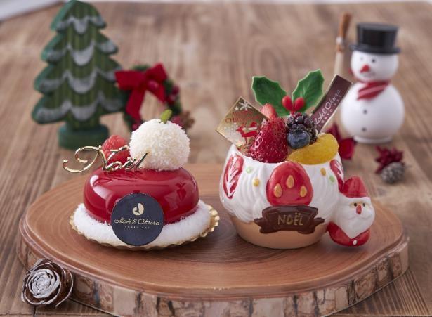 左から「サンタの帽子」600円と「サンタのフルーツババロア」500円。12月25日(金)までの販売