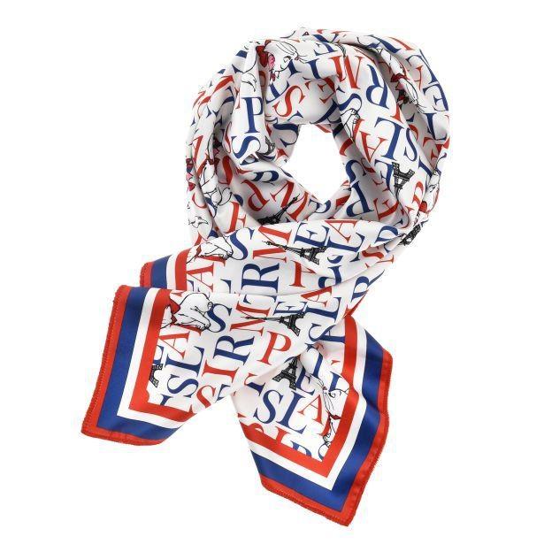 大人の女性におすすめのトリコロールカラーのスカーフ
