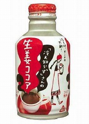新たにシリーズに仲間入りする『「冷え知らず」さんの生姜ココア』。300ml(286g)アルミ缶ボトル入り、100gで48kcalだ