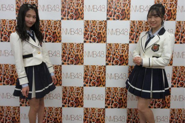 NMB48の塩月希依音(左)、安部若菜(右)