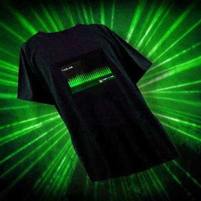 目で音が楽しめるTシャツ「Tコライザー」 ※写真は「テクノグリーン」(¥3990)