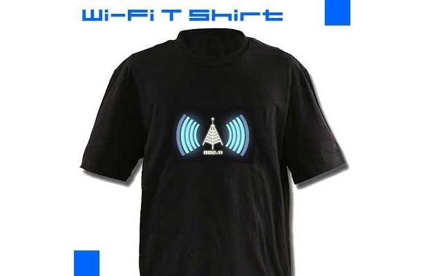 無線LAN検知Tシャツ「Wi-FiDetector Tシャツ」(¥3000)はELパネルが取り外し可能