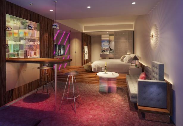 エネルギッシュな大阪の街からインスピレーションを得たという客室のインテリア