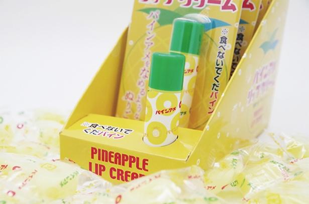 パインアメリップクリーム1本¥598(税込)。パインアメを舐めている以上にジューシー!と大好評のデリシャスリップ。保湿力もバッチリ
