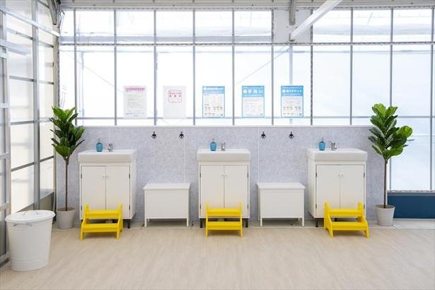 トイレ以外にも手洗い台を設置。手洗いの正しいやり方などを記したポスターで注意喚起も / ストロベリーパークみふね