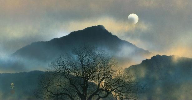 浜田泰介《月と三山》1999年 奈良県立万葉文化館蔵