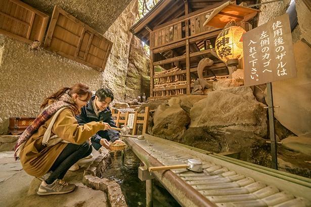 銭洗水は鎌倉五名水の一つ。「しっかりお札を清めたから、良いことあるといいな」