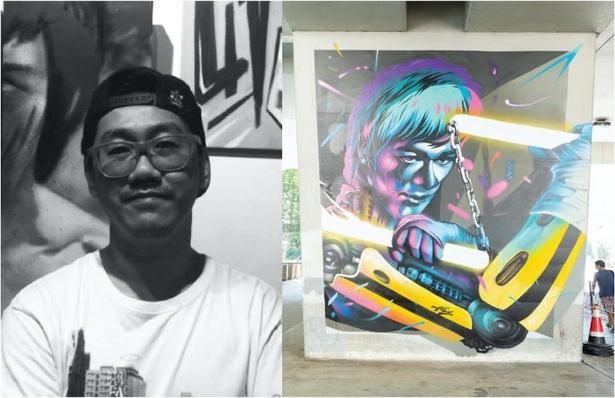 香港で育ったカンフーマスターのブルース・リーをオマージュしたウォールアート。作品には錯覚効果があり、横から撮影すると立体感が生まれる。描いたのは香港人アーティストのUncle氏