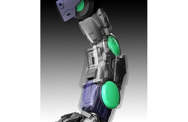 緑色の丸いボタン(「GNコンデンサー」と呼ばれる部位)を押すと、関節の角度が固定される