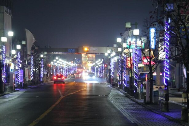 今年は医療従事者を応援する内容になっている岩井モール商店街のイルミネーション
