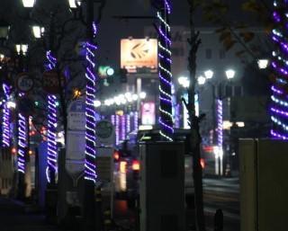 医療従事者にエールを、茨城県坂東市の岩井モール商店街でイルミネーションが点灯中