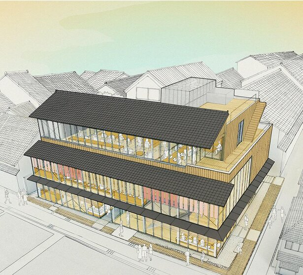 設計は日本を代表する建築家の一人、内藤廣さん。開放的なガラス窓と周囲の街並みを生かした瓦屋根が特徴
