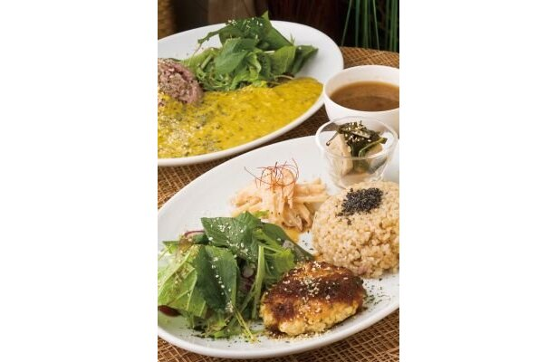 "from Earth Cafe ""OHANA""の「日替わりプレート」(1180円)。米は、玄米か7分つきかを選べる"