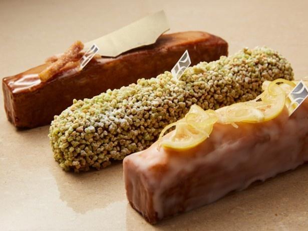 しっとりなめらかな食感の、冷やして食べるアイスパウンドケーキ。ショウガ、ピスタチオ、レモンの3種のフレーバーが選べる