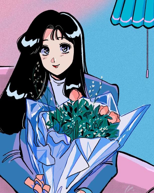 花束を手にした女性の喜びも時間もとじこめた、写真のような1枚。見ているだけで、心が明るい気持ちになる