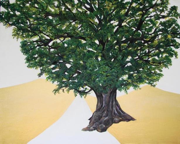 福岡の風景を描いたアクリル画を展示する「『どこからどこへ』maruu 絵画展」