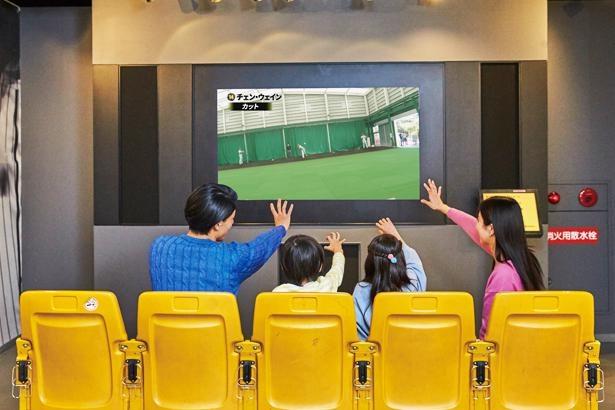 「投球体感映像」阪神タイガースの投手が投げるボールの球筋やスピードを間近で楽しむことができる