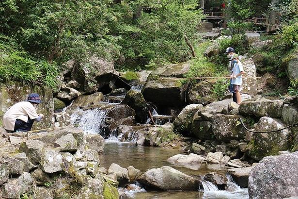 きれいな渓流でニジマス釣り体験。釣れなくても食事用の魚は用意してもらえるので安心だ