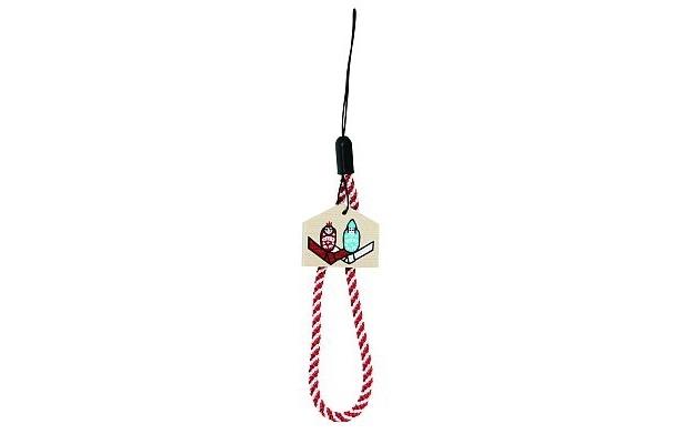縁結びの糸が編みこまれたヒモが付いた「縁むすびストラップ」(1000円)/出雲大社東京分祀