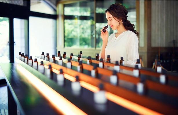 「至高の香り探し」で約80種の天然エッセンシャルオイルからお気に入りの香りを見つけよう