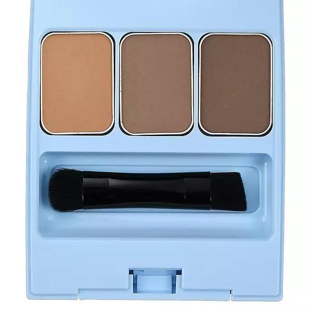 オシャレなブルーのケースに、ミッキー&ミニーのイラストがあしらわれたアイブロウパウダー