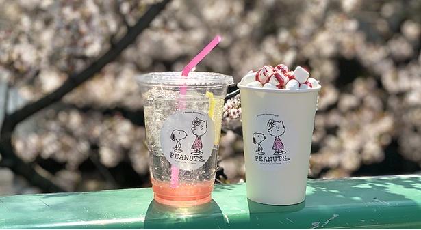 【写真】春にぴったり!「さくらレモネード」(写真左・715円)、「さくら焼きマシュマロラテ」(同右・770円)