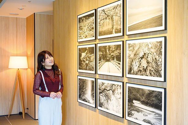 ロビーエリアに、その土地の伝統芸能や行事などの写真を展示している