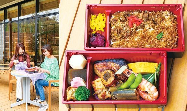 朝食ボックス。テラスで食べるのもいい。