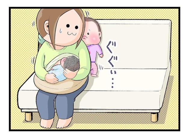 「ソファーで授乳中、背中側で割り込んでキュッとされた」6