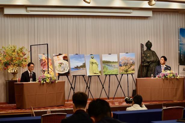 委嘱式では高知県にまつわる思い出や、現役時代のエピソードも語られた