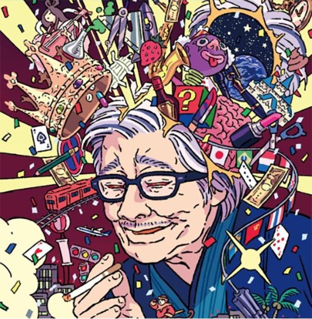「筒井漫画瀆本ふたたび」 これまで丸紅茜さんが商業依頼で描いたものの中でも「とても光栄でした」と、特にお気に入りの作品。『筒井漫画瀆本ふたたび』カバーイラスト(実業之日本社)