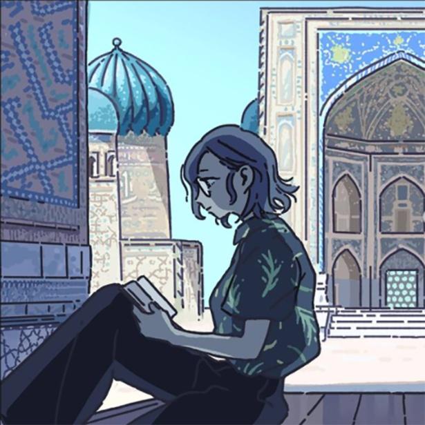 「砂漠の果てのブルー」 ウズベキスタン旅行を描いた同人誌の表紙。ウズベキスタン在住の人からコメントが多くあったそう