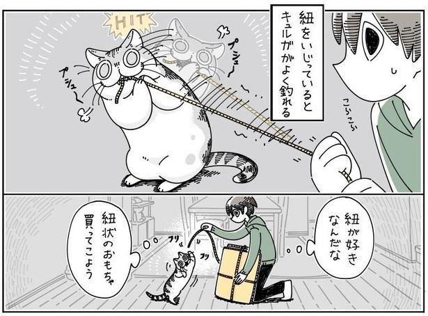 「紐にじゃれるネコ」03