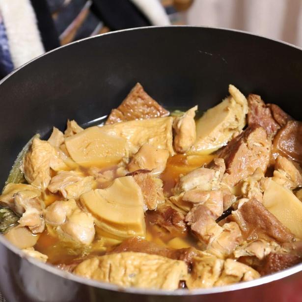 おばあの得意料理である煮物。味付けは、あっさりとした甘辛系