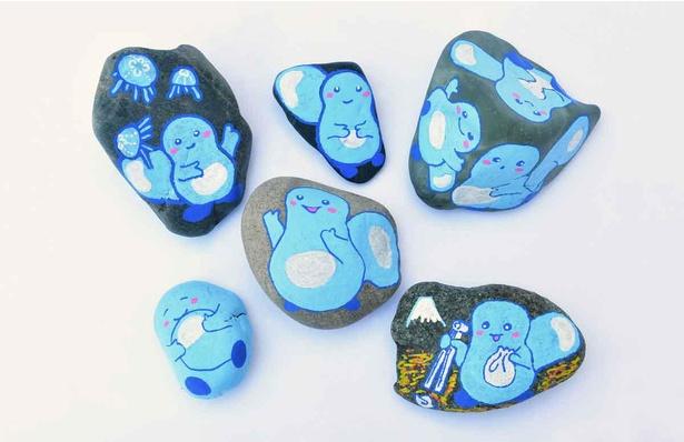 ビーチコーミングで拾い集めた石に「あわたん」を描くワークショップも実施(5月6日(木)まで、事前予約制)