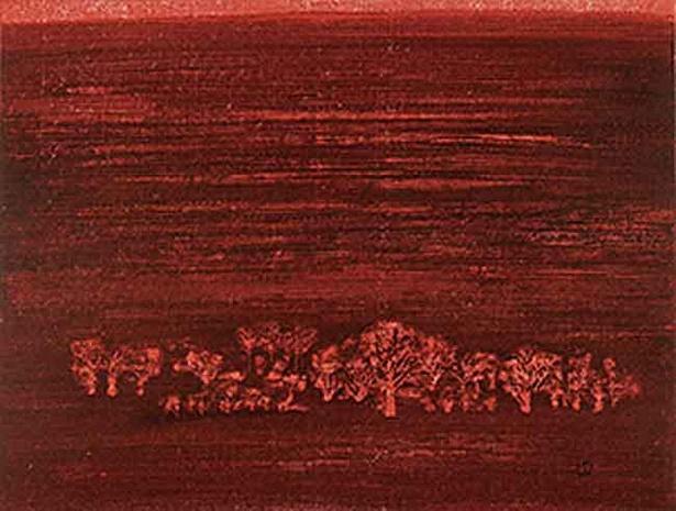 星襄一 《赤い野》1972年 木版画