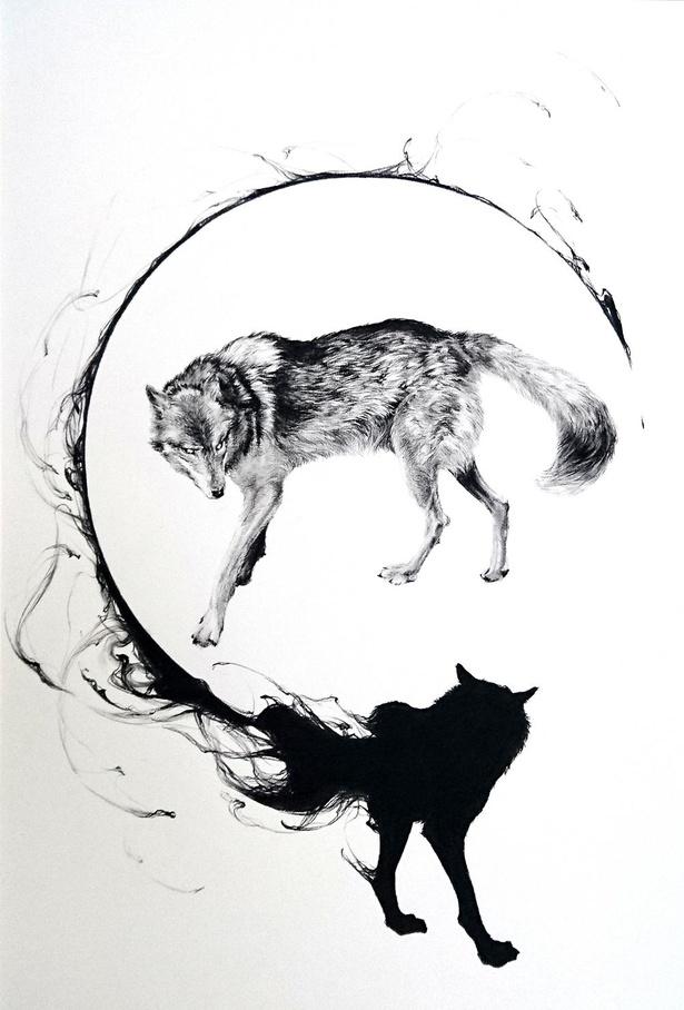 「The Last Of The Real Ones」。1頭のオオカミと黒い影を描いた息をのむほど美しい一作