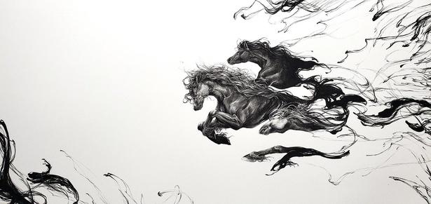 「勇敢で静かな出」。どこからか飛び出したような馬たちの疾走感がかっこいい!