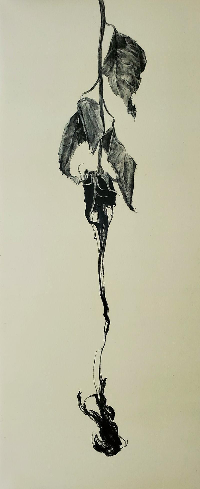 「アムステルダム」。バラの花びらから流れ落ちるように描かれた花びらは、まるで一滴の涙のよう