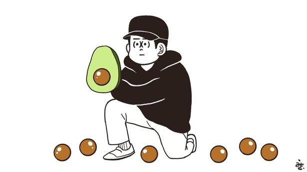 アボカドでキャッチボールをするうのきさんの似顔絵イラスト。シュールな絵がクセになると人気だ